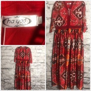 Ha yao Long Red Tribal Dress
